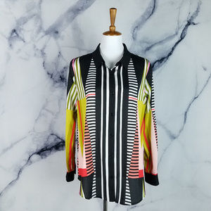 Ivanka Trump Blouse Large Striped Geometric Colors